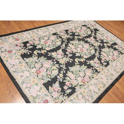 Krishna One-of-a-Kind Needlepoint Aubusson Traditional Oriental Hand-Woven Wool Black Area Rug