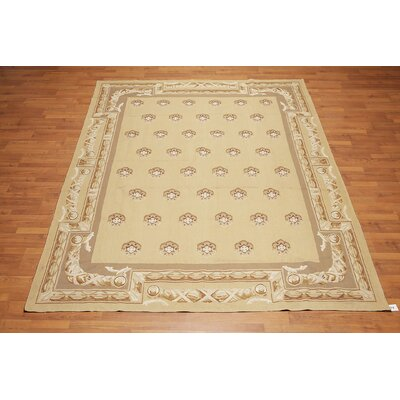 Herbert One-of-a-Kind Aubusson Traditional Oriental Hand-Woven Wool Tan Area Rug