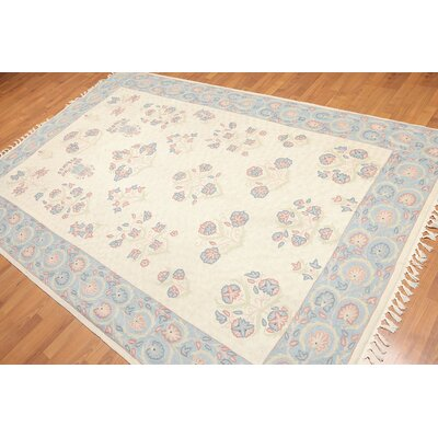 Laszlo One-of-a-Kind Needlepoint Aubusson Traditional Oriental Hand-Woven Wool Beige Area Rug