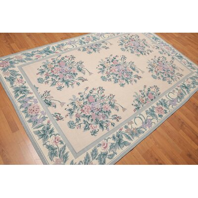 Konola One-of-a-Kind Needlepoint Aubusson Traditional Oriental Hand-Woven Wool Light Peach Area Rug