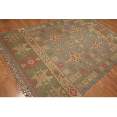 Raby One-of-a-Kind Modern Oriental Hand-Woven Wool Moss Area Rug