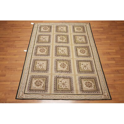 Latchman One-of-a-Kind Needlepoint Aubusson Traditional Oriental Hand-Woven Wool Tan Area Rug