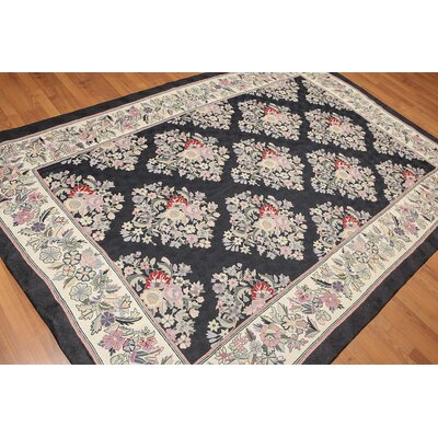 Kremer One-of-a-Kind Needlepoint Aubusson Traditional Oriental Hand-Woven Wool Black Area Rug