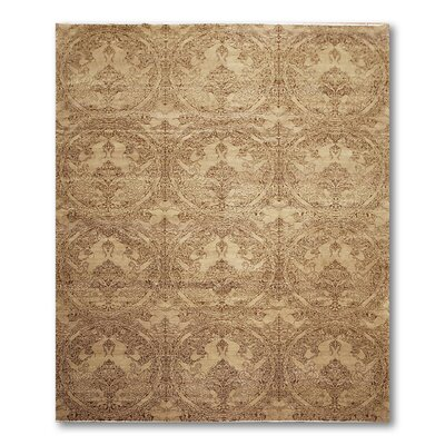 Costilla One-of-a-Kind Modern Oriental Hand-Knotted Wool Tan Area Rug