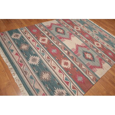 Rabon One-of-a-Kind kilim Modern Oriental Hand-Woven Wool Aqua Area Rug