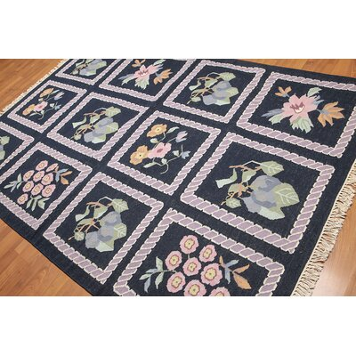 Wollenzein One-of-a-Kind Kilim Traditional Oriental Hand-Woven Wool Navy Area Rug