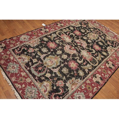 Lenore One-of-a-Kind Soumak Traditional Oriental Hand-Knotted Wool Charcoal Black Area Rug