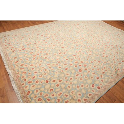 Witton One-of-a-Kind Pile Oriental Contemporary Oriental Hand-Knotted Wool Aqua Area Rug