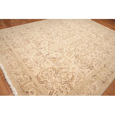 Wolcott One-of-a-Kind Pile Oriental Contemporary Oriental Hand-Knotted Wool Beige Area Rug