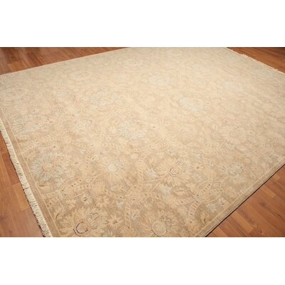 Woodford One-of-a-Kind Pile Oriental Traditional Oriental Hand-Knotted Wool Tan Area Rug
