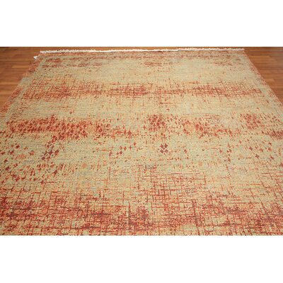 Coston One-of-a-Kind Pile Oriental Contemporary Oriental Hand-Knotted Wool Red Area Rug