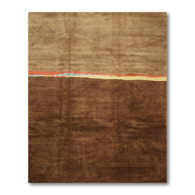 Costin One-of-a-Kind Modern Oriental Hand-Knotted Wool Brown Area Rug