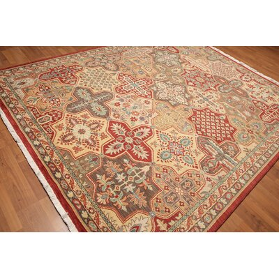 Garrey One-of-a-Kind Pile Oriental Traditional Oriental Hand-Knotted Wool Red Area Rug