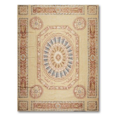 Masiello One-of-a-Kind Needlepoint Aubusson Traditional Oriental Hand-Woven Wool Beige Area Rug