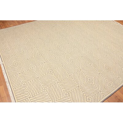Birmingham One-of-a-Kind Pile Oriental Traditional Oriental Hand-Knotted Wool Ivory Area Rug
