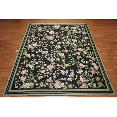 McCloy One-of-a-Kind Needlepoint Aubusson Traditional Oriental Hand-Woven Wool Black Area Rug