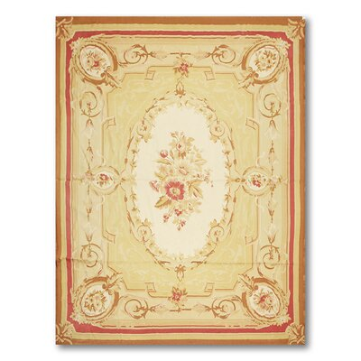 Mastro One-of-a-Kind Needlepoint Aubusson Traditional Oriental Hand-Woven Wool Beige Area Rug