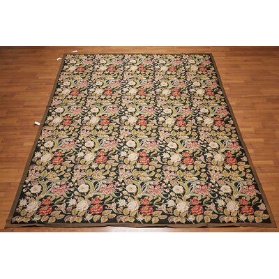 Mathais One-of-a-Kind Needlepoint Aubusson Traditional Oriental Hand-Woven Wool Black Area Rug
