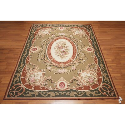 McGregor One-of-a-Kind Needlepoint Aubusson Traditional Oriental Hand-Woven Wool Tan Area Rug