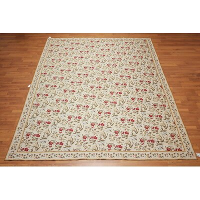 Matisse One-of-a-Kind Needlepoint Aubusson Traditional Oriental Hand-Woven Wool Beige Area Rug