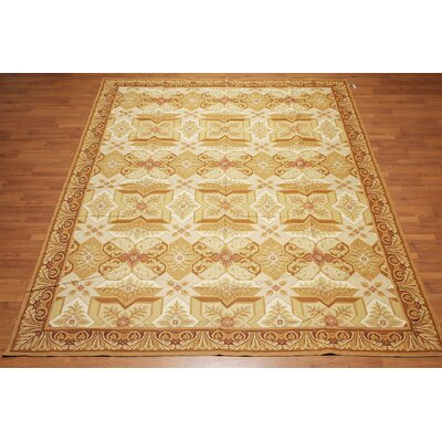 McIntosh One-of-a-Kind Needlepoint Aubusson Traditional Oriental Hand-Woven Wool Tan Area Rug