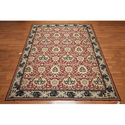 Mattingly One-of-a-Kind Needlepoint Aubusson Traditional Oriental Hand-Woven Wool Burgundy Area Rug