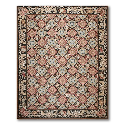 McKew One-of-a-Kind Needlepoint Aubusson Traditional Oriental Hand-Woven Wool Rust Area Rug