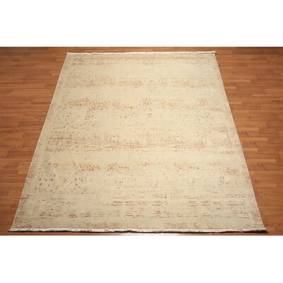 Hollenden One-of-a-Kind Contemporary Oriental Hand-Knotted Wool Aqua Area Rug