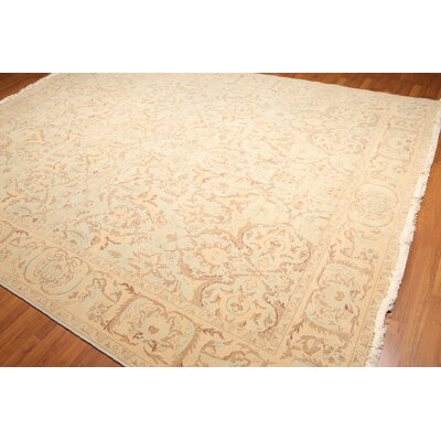 Woodoaks One-of-a-Kind Pile Oriental Traditional Oriental Hand-Knotted Wool Aqua Area Rug