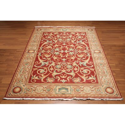 Malupo One-of-a-Kind Pile Savonnairie Traditional Oriental Hand-Knotted Wool Red Area Rug