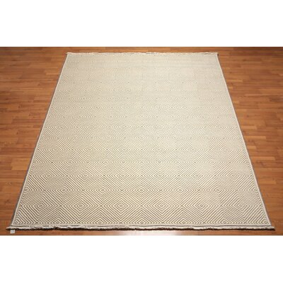 Holbrooke One-of-a-Kind Contemporary Oriental Hand-Knotted Wool Ivory Area Rug