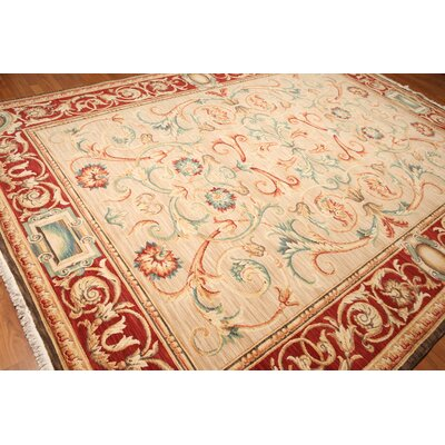 Garrin One-of-a-Kind Savonnerie Pile Traditional Oriental Hand-Knotted Wool Beige Area Rug
