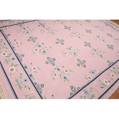 Mariko One-of-a-Kind Dhurry Kilim Reversible Modern Oriental Hand-Woven Wool Pink Area Rug