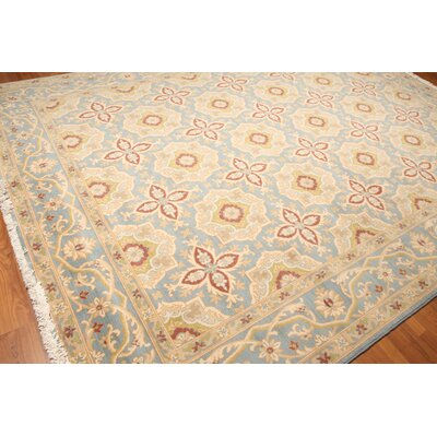 Woodside One-of-a-Kind Pile Oriental Traditional Oriental Hand-Knotted Wool Blue Area Rug