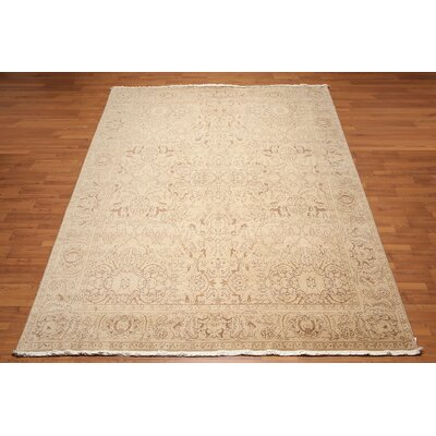 Hollands One-of-a-Kind Traditional Oriental Hand-Knotted Wool Tan Area Rug