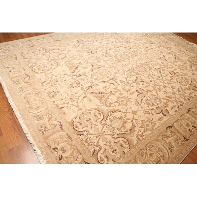 Wyndham One-of-a-Kind Pile Oriental Traditional Oriental Hand-Knotted Wool Beige Area Rug