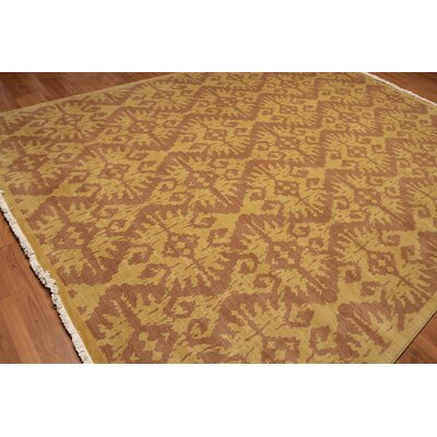 Rader One-of-a-Kind Pile Oriental Traditional Oriental Hand-Knotted Wool Mustard Area Rug