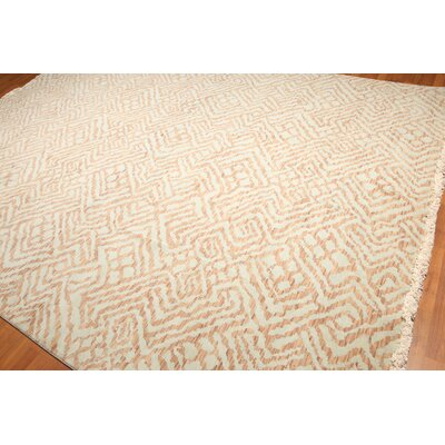 Bishop One-of-a-Kind Pile Oriental Contemporary Oriental Hand-Knotted Wool Aqua Area Rug
