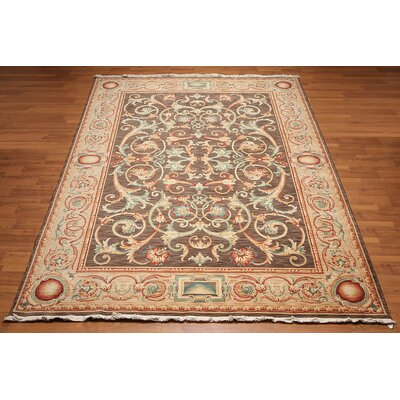 Lyon One-of-a-Kind Savonnerie Pile Traditional Oriental Hand-Knotted Wool Brown Area Rug