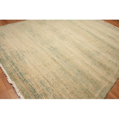 Yardley One-of-a-Kind Pile Oriental Modern Hand-Knotted Wool Green Area Rug