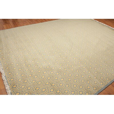 Dozier One-of-a-Kind Pile Oriental Modern Oriental Hand-Knotted Wool Light Blue Area Rug