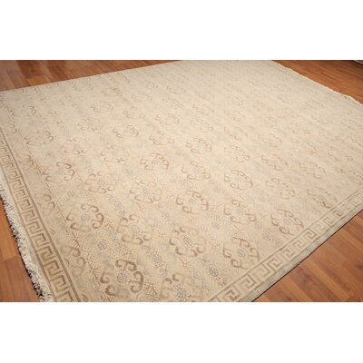 Hodge One-of-a-Kind Pile Oriental Transitional Oriental Hand-Knotted Wool Beige Area Rug