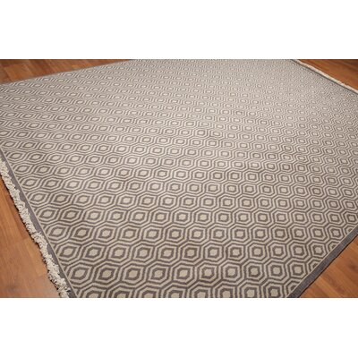 Draeger One-of-a-Kind Pile Oriental Contemporary Oriental Hand-Knotted Wool Light Gray Area Rug