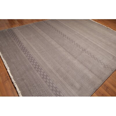 Rackley One-of-a-Kind Pile Oriental Contemporary Oriental Hand-Knotted Wool Light Gray Area Rug