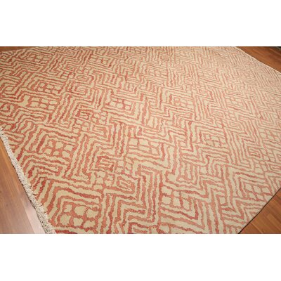 Radabaugh One-of-a-Kind Pile Oriental Contemporary Oriental Hand-Knotted Wool Beige Area Rug