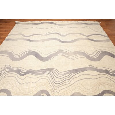 Mecca One-of-a-Kind Pile Oriental Contemporary Oriental Hand-Knotted Ivory Area Rug