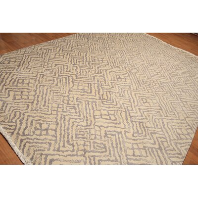 Radel One-of-a-Kind Pile Oriental Contemporary Oriental Hand-Knotted Wool Ivory Area Rug