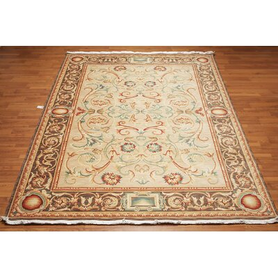 Minor One-of-a-Kind Traditional Oriental Hand-Knotted Wool Beige Area Rug