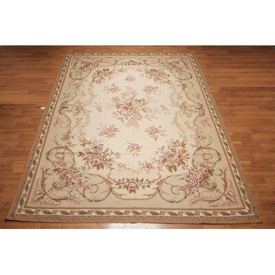 Meidanis One-of-a-Kind Needlepoint Aubusson Traditional Oriental Hand-Woven Wool Beige Area Rug