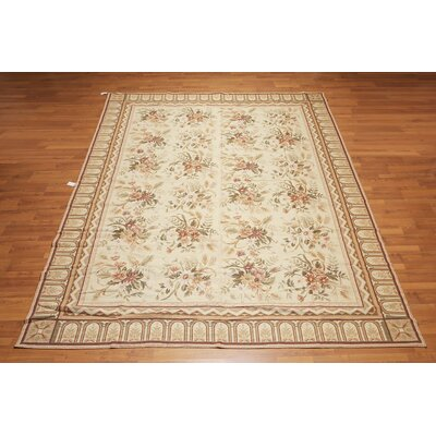 Mireille One-of-a-Kind Needlepoint Aubusson Traditional Oriental Hand-Woven Wool Beige Area Rug